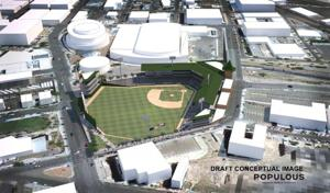 The latest conceptual drawing of a Downtown ballpark