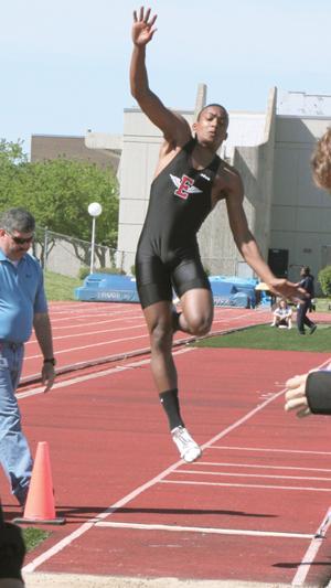 Morrow breaks school long jump record