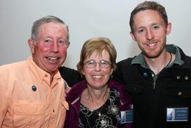 """<p class=""""p1"""">Mike, Terry and Tommy Caldwell celebrate May 21st at the Stanley Hotel. Photo courtesy of Barb Davis.</p>"""