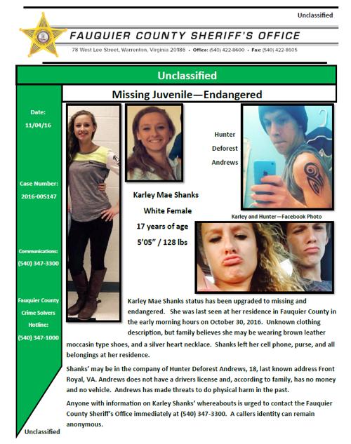 Missing Person Flyer endangered Karley Shankspng – Missing Person Flyer