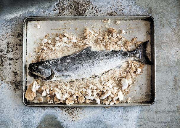 Salt-crusted salmon