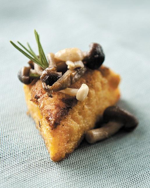 Pumpkin Polenta Cakes with Wild Mushrooms