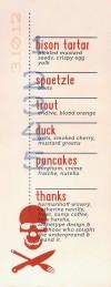 Underground dinner menu