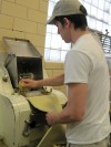 First steps for cut pastas at Midwest Pasta Co., pulling a laminate sheet of pasta