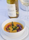 Butternut Squash Bisque with Crispy Salume Beddu Guanciale and Fried Sage Leaves