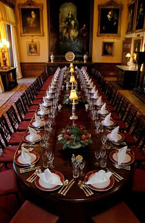 "<p>The dining room at Highclere Castle. The castle was used in the filming of ""Downton Abbey.""</p>"