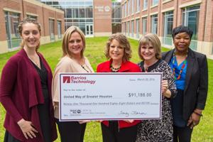 <p>Barrios employees rose to the challenge in supporting the less fortunate in the community by donating $91,188 to the United Way. Pictured from left are Allison Wilden, Tracey Escamilla, Sandy Johnson, Anna Babin and Yvonne H. Thornburg.</p>