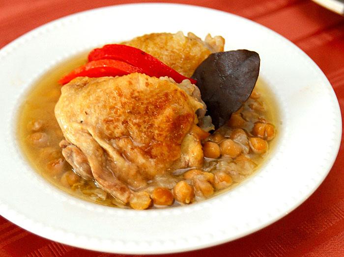 Bay Leaf-Braised Chicken with Chickpeas