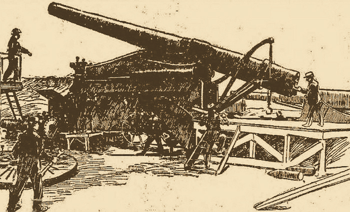 Harbor defense construction on isle