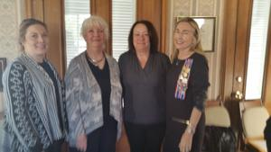 <p>Pictured L-R: Erin Graham, Registrar Sue McCown, Andrea Cooper, and President Dianne Reynolds.</p>