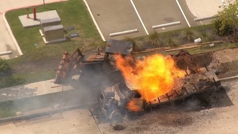 Truck catches fire near Gulf Freeway