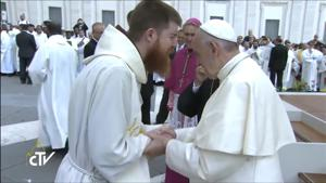 <p>The Rev. Richard Goodin is greeted by Pope Francis on June 3 at The Vatican during the Jubilee For Priests.</p>