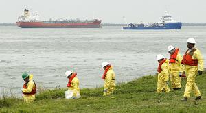 Crews work to clean oil spill