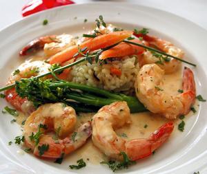 Broiled shrimp in lemon sauce