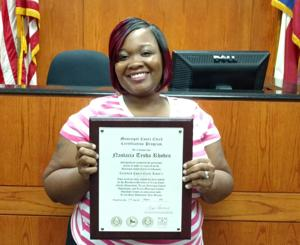 <p>NaStacia Rhodes, a deputy court clerk for the Municipal Court of Texas City, was awarded certification on Aug. 31.</p>