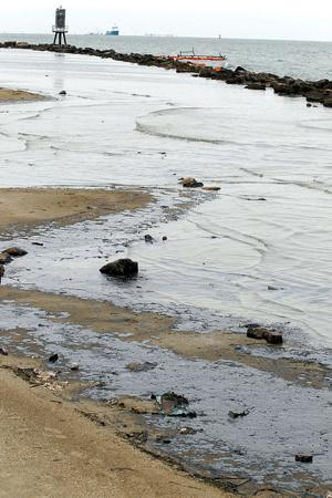 Oil washes ashore on East End