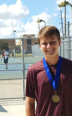 """<p>League City's Carter Crookston won the boys' 16-and-under singles """"D"""" draw at the Katy Super Champ Excellence tennis tournament.</p>"""