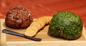 <p>A bacon blue cheese ball and jalapeño cheddar cheese ball are an easy appetizer for any party or pot luck.</p>