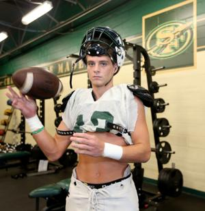 <p>Santa Fe's Blane Marcantel is not only a receiver for the Indians, he's also their punt and kick returner and their punter.</p>
