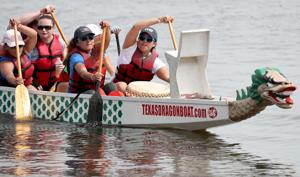 Dragon boat teams from Texas and Louisiana competed Sunday, July 10, 2016, in the Texas Dragon Boat Association's Island Party that was part of Island Paddle's 4th annual Ocean Fest. Paddling to the beat of a drummer on the 40-foot boats, the 20 paddlers and steersperson raced the traditional Hong Kong-style BuK dragon boats on a 300-meter course on Offatts Bayou at Moody Gardens in Galveston.