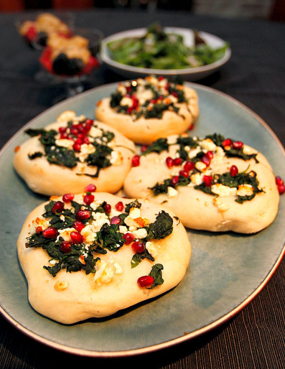 Turkish Pizza with Pomegranates, Spinach and Feta