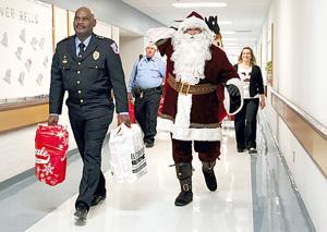 Santa arrives to deliver presents
