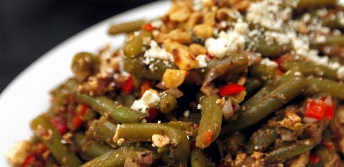 Fresh Green Bean Salad with Crumbled Feta Vinaigrette