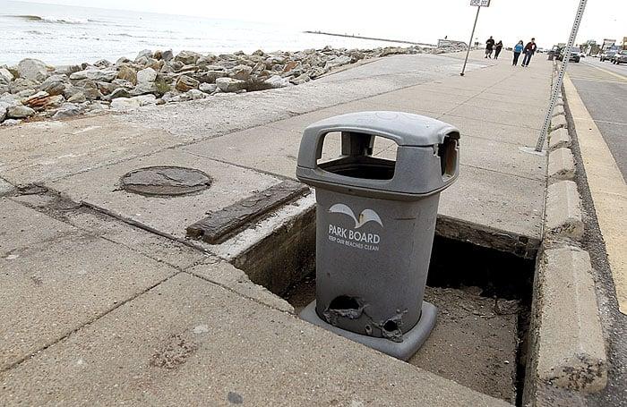 Part of seawall sidewalk sinks near 47th Street