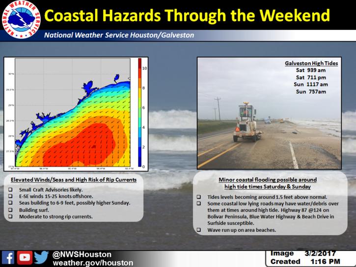 Weekend coastal hazards graphic