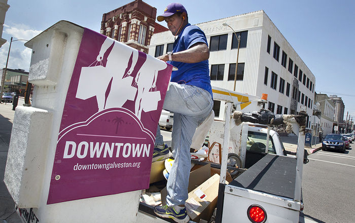Downtown Galveston has promotional hang-up