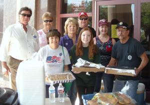 <p>Pictured with some of the goodies are lodge participants (l-r) back row: Lyle Woita, Jane McKinley, Loraine McKinney, David Steele, Catherine Bulliner and Jody Ward. Front row: Patty Trimingham and helper Linda Steele.</p>