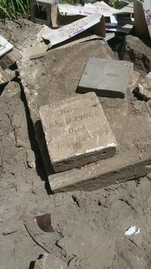 <p>The partial remains of a tombstone were found in a backyard of a under-construction house on Avenue M last weekend. The Galveston County Historical Commission matched the stone to a obituary from 1877.</p>