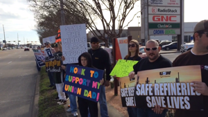 Striking USW workers, families hold rally outside Texas City offices of Marathon Petroleum