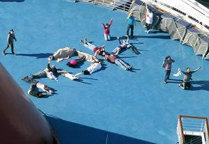 Passengers spell out