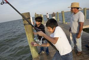 Fishing off the Texas City Dike