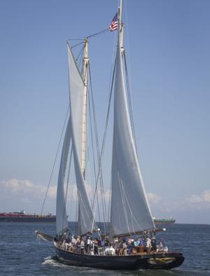 Crowds gather to see replica of famous yacht America