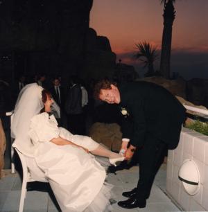 <p>Judge Patricia Grady and her husband, Judge John Grady, on their wedding day.</p>