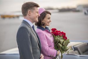 "<p>Caspar Phillipson as John F. Kennedy, left, and Natalie Portman as Jackie Kennedy in ""Jackie.""</p>"
