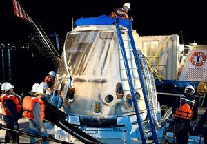 Unmanned spacecraft splashes down in Pacific Ocean