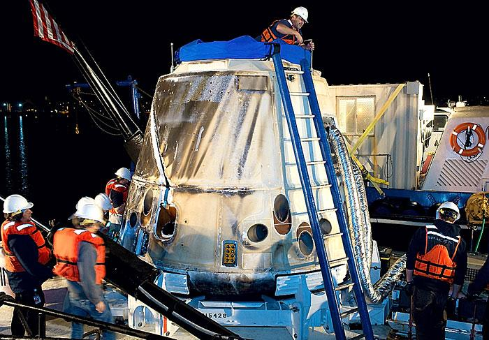 Unmanned spacecraft splashes down in Pacific Ocean