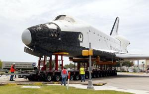 Shuttle replica makes trek to Johnson Space Center