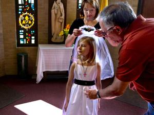First communion rehearsal