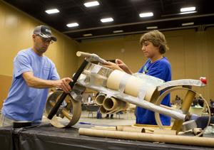 Fathers and sons bond through duct tape competition