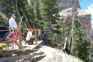 Cody middle-schoolers build deck on Heart Mountain
