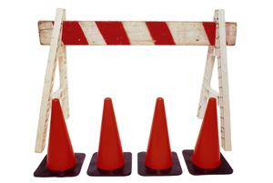 construction orange cones trade barrier