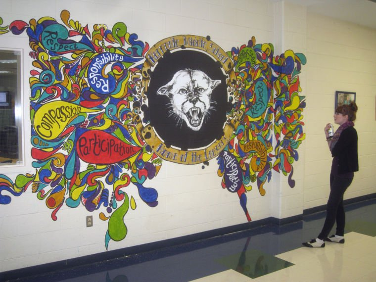 Artist paints mural of kernodle middle school mascot for Elementary school mural