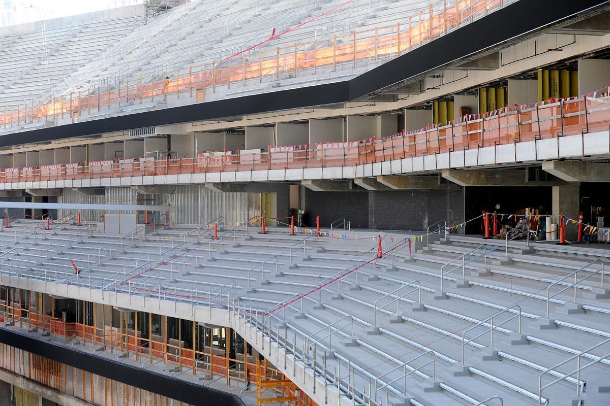 A look at the progress of mercedes benz stadium for Mercedes benz stadium suites