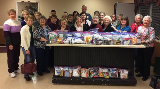 Women from local church make 'blessing bags' for homeless