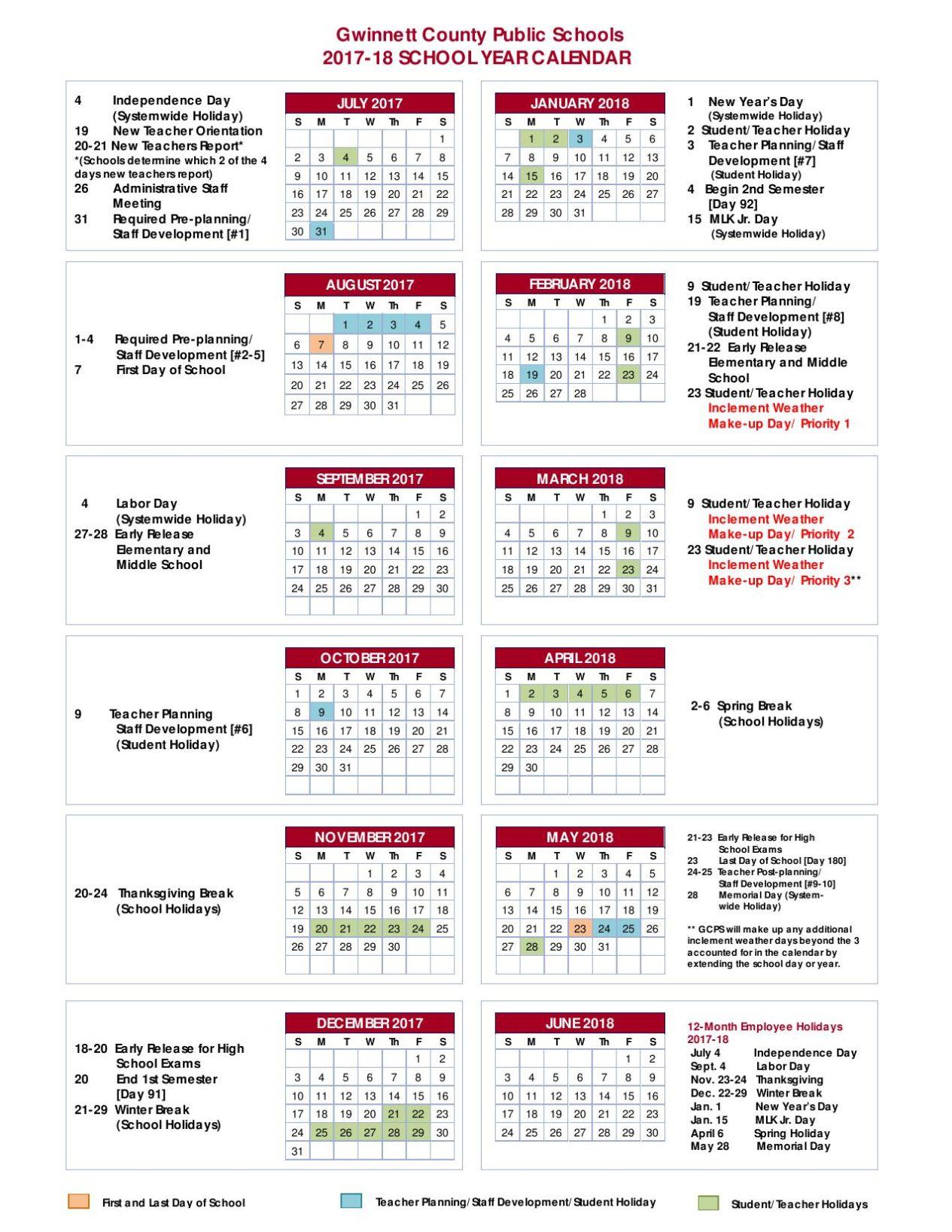 Gcps Calendar 2017 17 - Academic Calendar