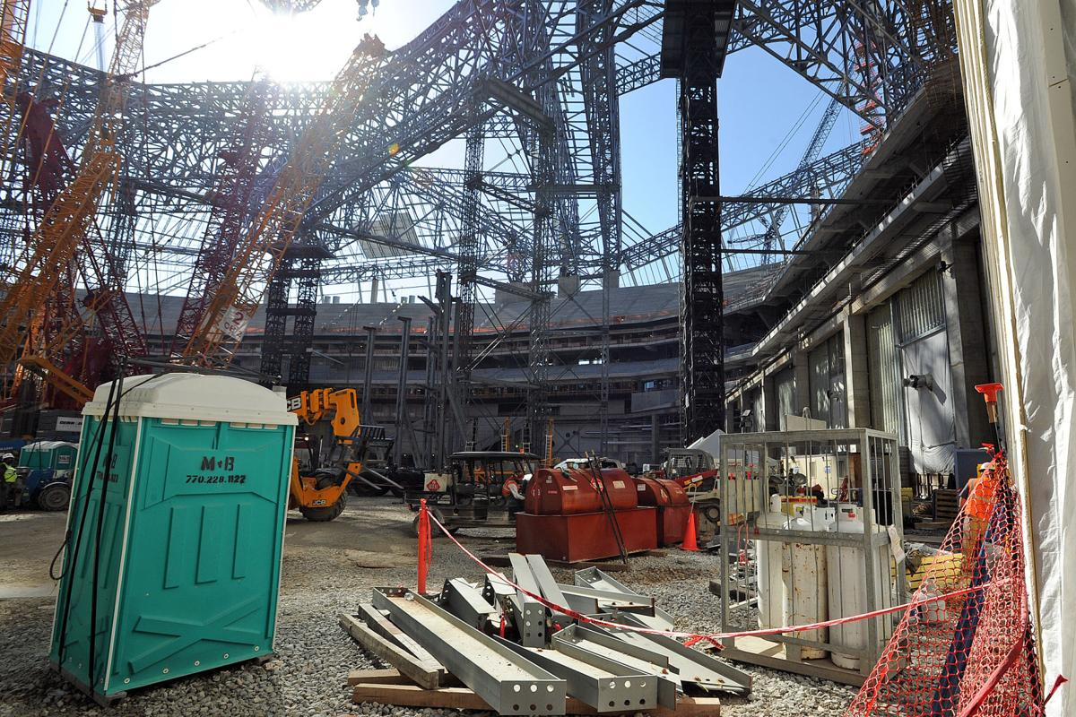 A look at the progress of mercedes benz stadium for Mercedes benz of chandler staff